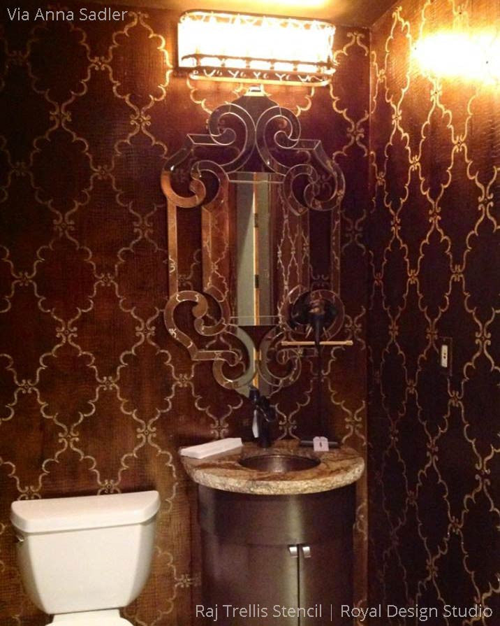 Dramatic and Elegant Bathroom Makeover using Raj Trellis Indian Wall Stencils - Royal Design Studio