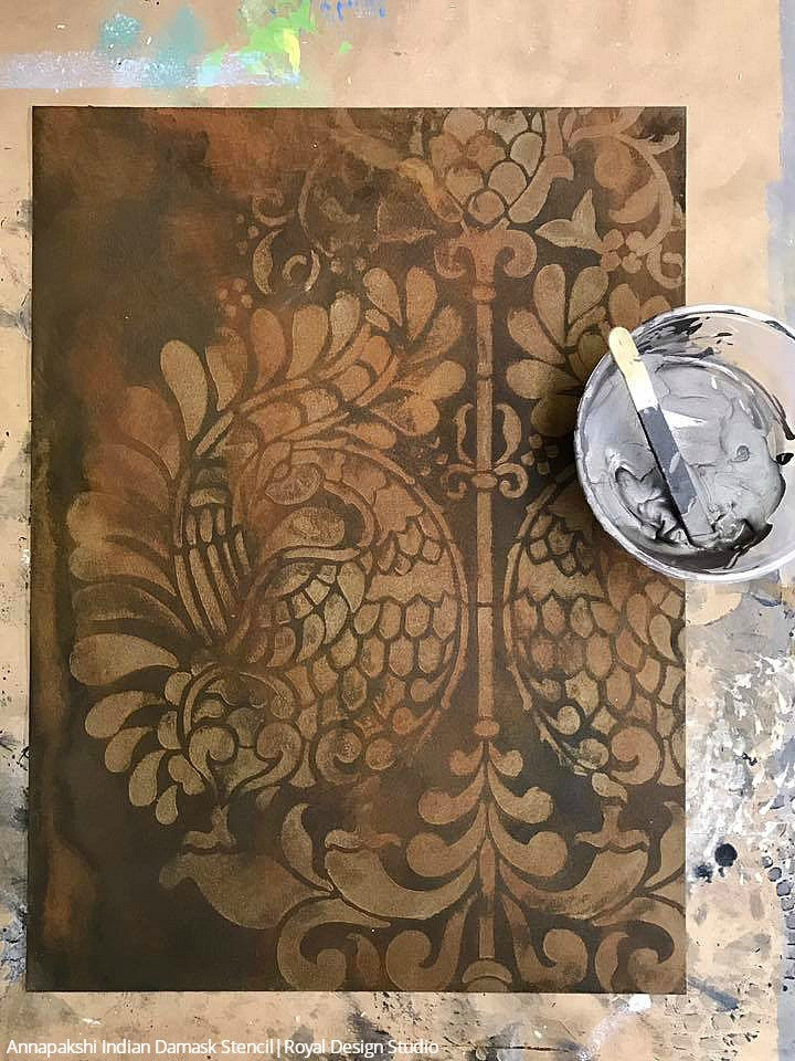 Annapakshi Indian Damask Furniture Stencil
