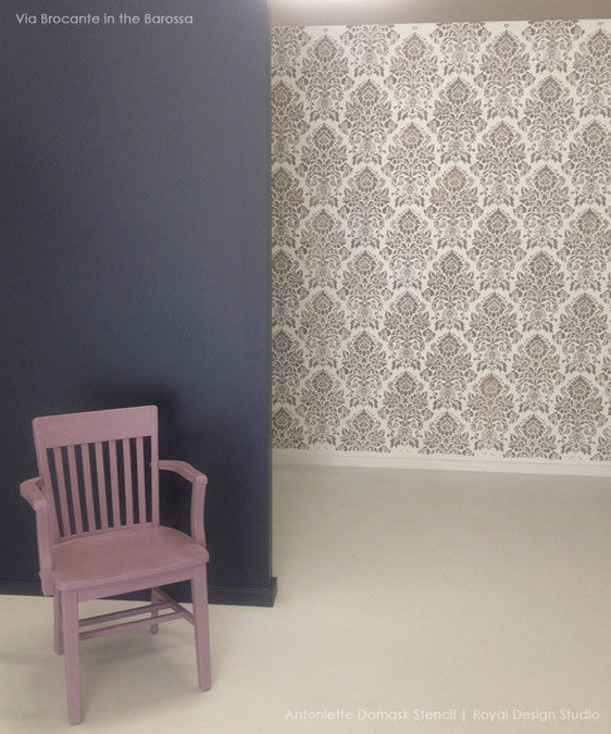 Decorating a Room with Large Damask Wallpaper Wall Stencils - Classic European Wall Decor Paint Stencils - Royal Design Studio Antoinette Damask Wall Stencils