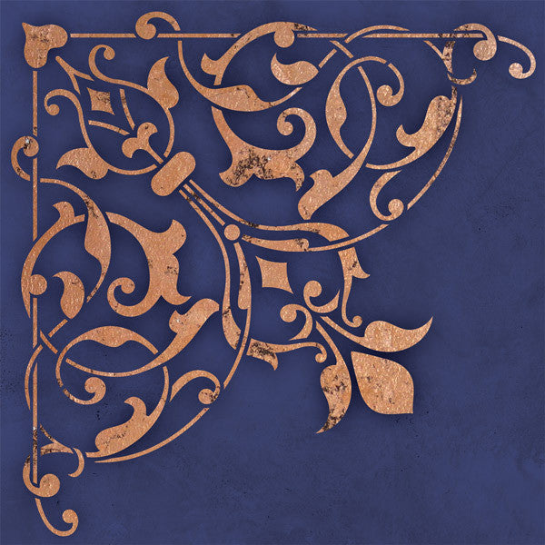 Ceiling stencils arabesque corner stencil royal design for Pochoir mural design
