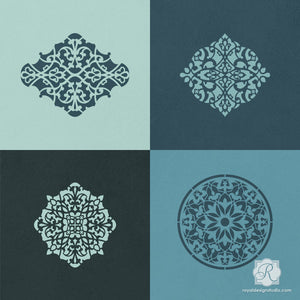 Intricate and Detailed Moroccan Designs for DIY Pillows, Wall Art, Table Decor, and more - Arabesque Ornament Craft Stencils Set- Royal Design Studio