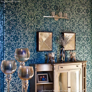 Dramatic Dark Wall Decor for Regal and Elegant Home Decor - Arabesque Moroccan Stencils - Royal Design Studio