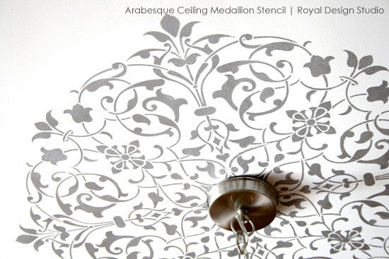 Designer Stencils for Painted Ceiling - Intricate and Exotic Home Decor - Moroccan Ceiling Medallion Stencils - Royal Design Studio
