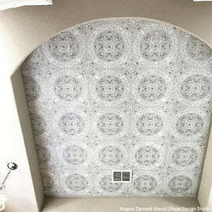 Aragon Damask Tile Wall Stencil