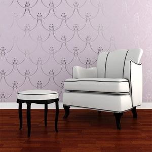 Metallic Art Deco Allover Wall Stencils - Deco Pearls Damask Wall Stencils - Royal Design Studio