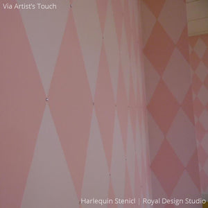 Cute Pink Walls for Girls Room Decor - Harlequin Wall Stencils - Royal Design Studio