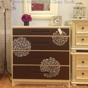 Painted Wood Furniture Upcycle with Modern Flower Furniture Stencils - Royal Design Studio
