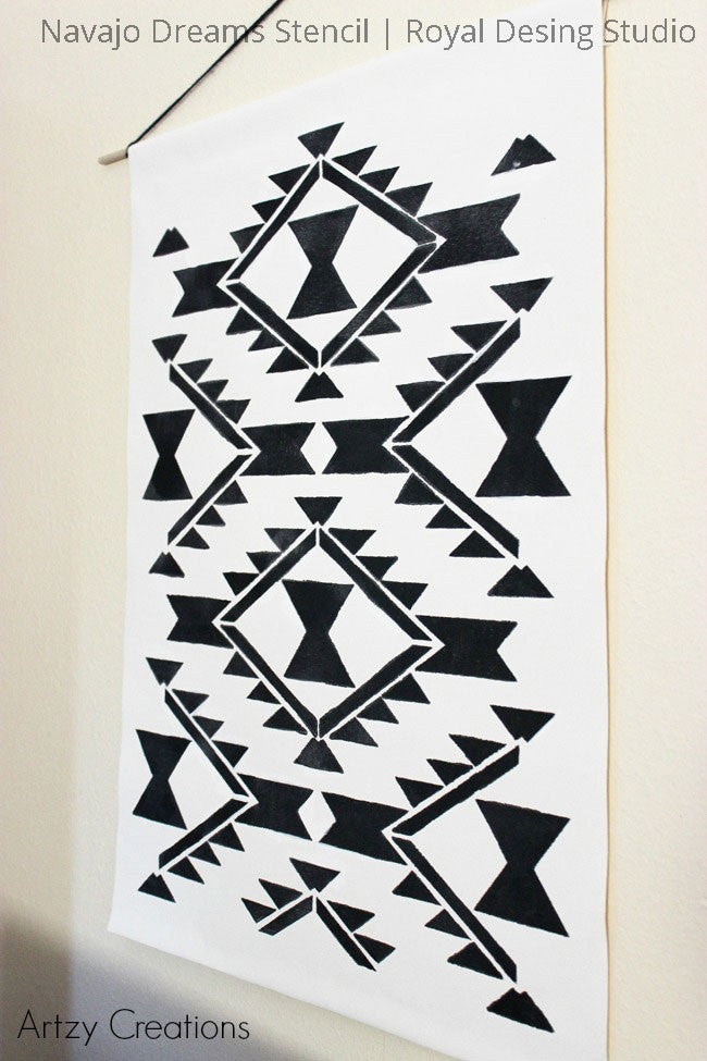 Navajo Wall Art Craft Project using Paint and Western Wall Art Stencils - Royal Design Studio