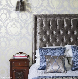 Metallic Charcoal Gray Bedroom Makeover - Chic Decorating - Silk Road Suzani Wall Stencils - Royal Design Studio