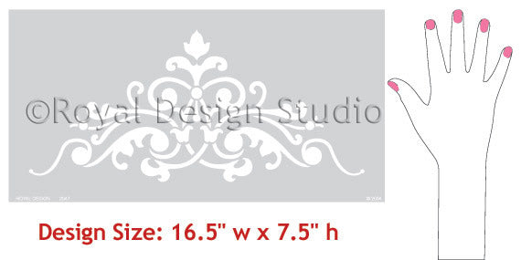 Painting a Ceiling with Stencil Designs - Classic European and Victorian Designs for DIY Home Decor - Ceiling Stencils Avignon Center Stencils - Royal Design Stuido