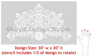 Paint a DIY Ceiling Medallion with Stencil - Classic European and Victorian Designs for DIY Home Decor - Ceiling Stencils Avignon Ceiling Medallion Stencils - Royal Design Stuido