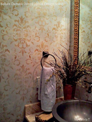Foliate Damask Wall Stencil