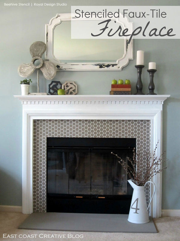 DIY fireplace surround design and pattern - cute bee stencil with honeycomb pattern for chic and modern fireplace design - Royal Design Studio