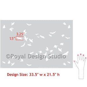 Flock of Birds Wall Stencil
