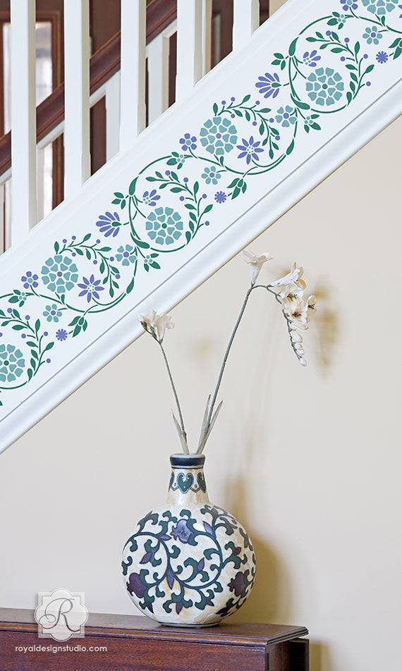 Indian Flower Wall Amp Furniture Border Stencil Royal