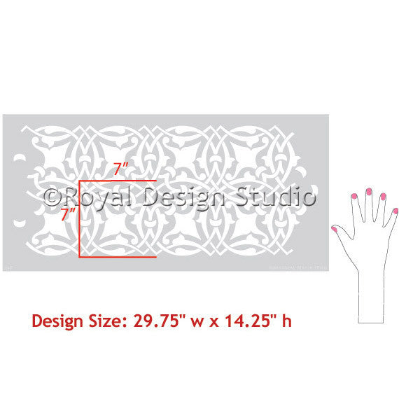 Intricate Detail Moroccan Border Stencils for Painting Walls - Royal Design Studio