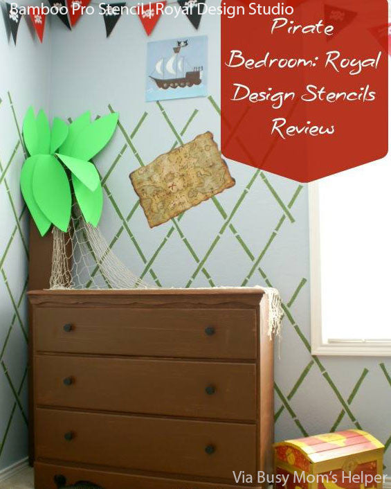 Cute Boys Room Decor Ideas - Bamboo Wall Stencils for Pirate Themed Room