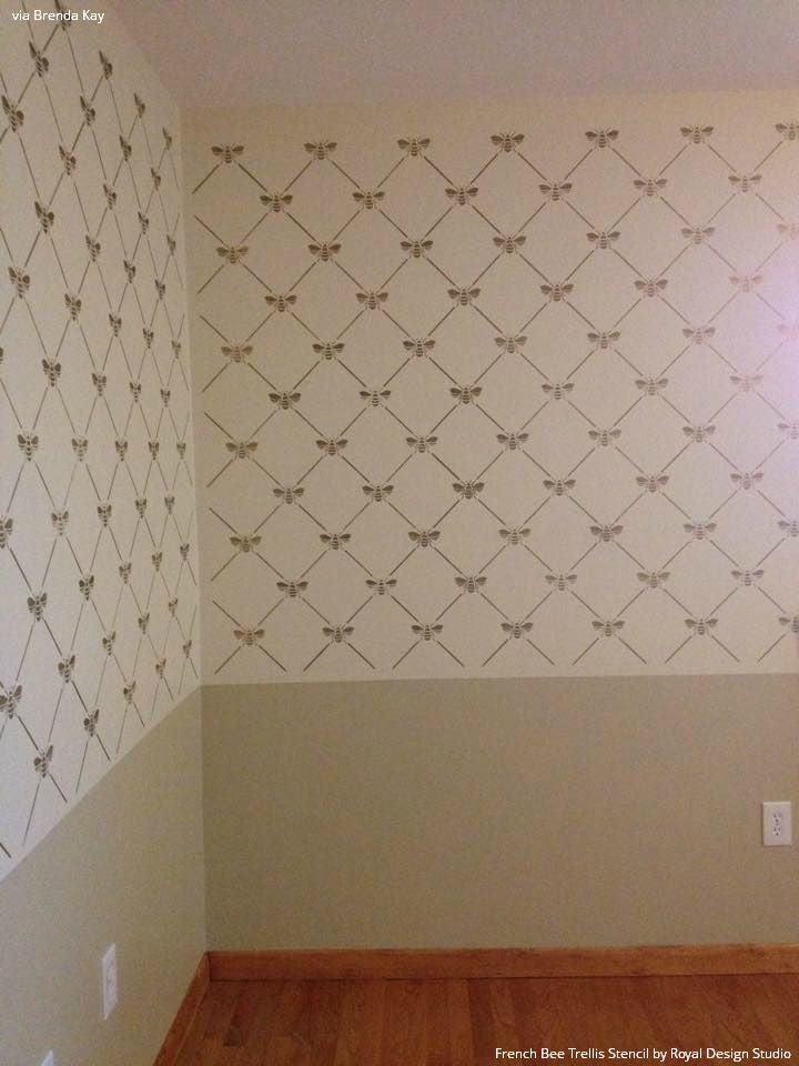 Neutral and Metallic Gold Trellis Pattern - French Bee Trellis Wall Stencils - Royal Design Studio
