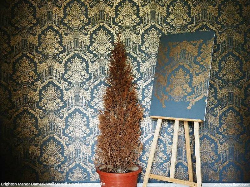Blue and Gold Large Wall Stencils Damask Wallpaper Classic Pattern - Royal Design Studio