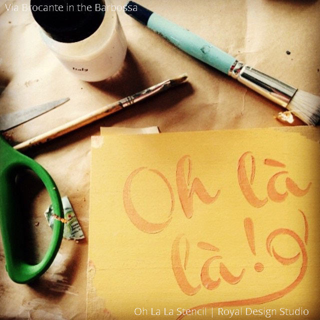 Oh La La French Lettering Craft Stencils and Wall Quotes - Royal Design Studio