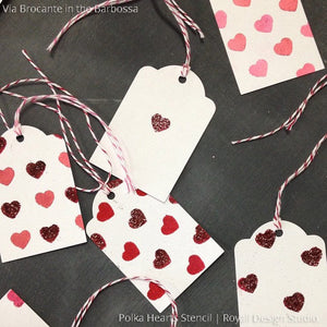 Cute Girls Room Decor with Polka Heart Shapes Stencils - Wall Stencils by Royal Design Studio