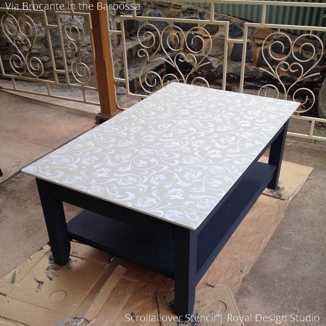 Decorating a Table Top with Vine and Leaf Patterns - Scrollallover Furniture Stencils