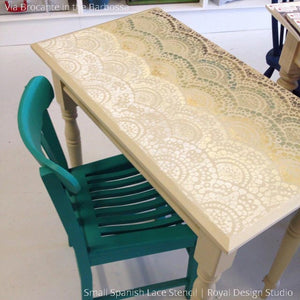 Metallic and Colorful Painted Table Top Decorated with Spanish Lace Scallop Furniture Stencils - Royal Design Studio