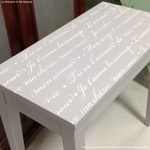 gray chalk paint painted table top with chic quotes french love letters furniture stencils