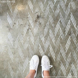 Classic Tribal Modern Herringbone Pattern Painted onto Concrete Floor - Floor Stencils by Royal Design Studio