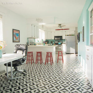 Black and White Retro Painted Kitchen Floor with DIY Stencils - All the Angles Moroccan Floor Stencils - Royal Design Studio