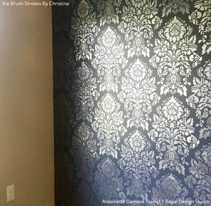 Large Damask Classic Wallpaper Wall Stencils for Decorative Painting Vintage Decor