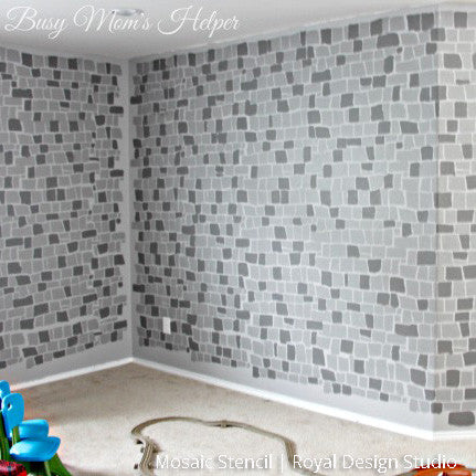 Faux Brick Wall and Wallpaper Finish using Mosaic Stencils for Boys Playroom Decor - Royal Design Studio