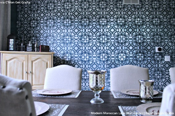 Metallic Navy Blue Accent Wall in Dining Room Makeover - Trendy Designer Modern Moroccan Lace Wall Stencils - Royal Design Studio