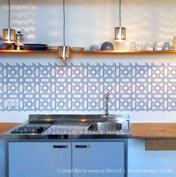 Kitchen Decor Stencils and DIY Backsplash - Moroccan stencils camel bone weave geometric and exotic pattern - Royal Design Studio