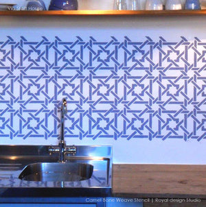 Decorate your kitchen with painted backsplash walls - Moroccan stencils camel bone weave geometric and exotic pattern - Royal Design Studio