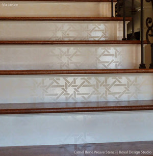 Painted stairs with tone on tone finsih - Moroccan stencils camel bone weave geometric and exotic pattern - Royal Design Studio