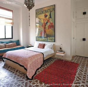 Painted Concrete Floor Ideas - Moroccan stencils camel bone weave geometric and exotic pattern - Royal Design Studio