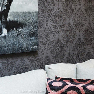 Elegant Wallpaper Look with DIY Paisley Damask Wall Stencils - Royal Design Studio