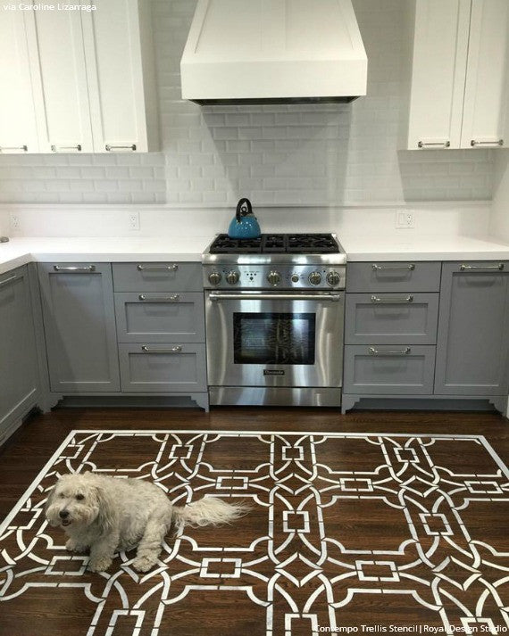 Painted Floor Ideas with Contempo Trellis Floor Stencils - Royal Design Studio