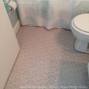 DIY Painted Bathroom Floor Makeover - Spanish Lace Scallop Floor Stencils - Royal Design Studio
