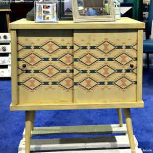Painted and Stenciled Cabint with Geometric Tribal Designs - Navajo Dreams Damask Furniture Stencils - Royal Design Studio
