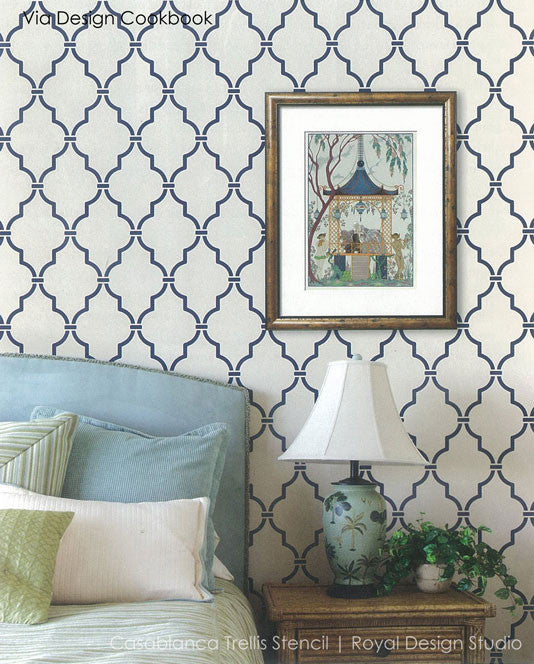 DIY Painted Walls with Moroccan Design - Royal Design Studio Trellis Wall Stencils