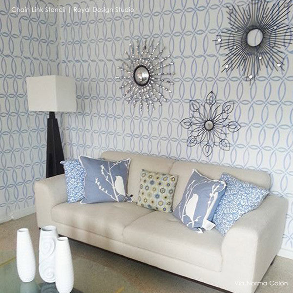 Modern Living Room Update using Geometric Circle Stencils - Royal Design Studio