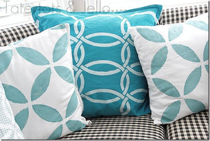 Painted Pillows Project using Chain Link Stencils - Royal Design Studio