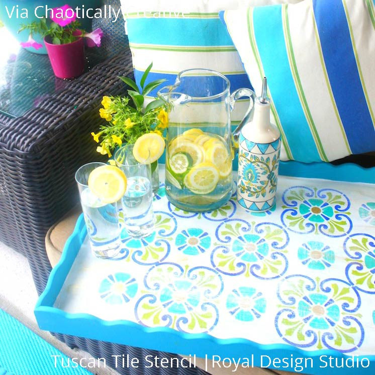 Colorful Summer Time Serving Tray for Outdoor Party Decor - Tuscan Tile Stencils - Royal Design Studio