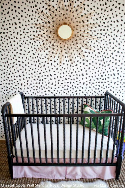 Cheetah Leopard Allover Spots Wall Stencil For Animal