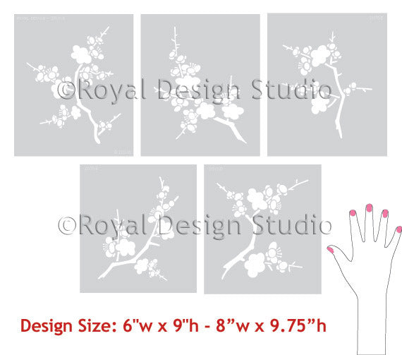 Cherry Blossoms Stencils to use as Wall Stencils, Furniture Stencils, and more! - Royal Design Studio