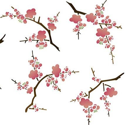 Wall Stencils Cherry Blossoms Flower Stencil Royal