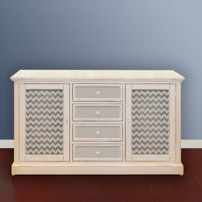 Paint a dresser with modern pattern s- furniture stencil in chevron pattern