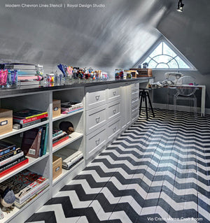 Painted Floor Ideas with Modern and Classic Patterns for Painting Floors - Chevron Floor Stencils - Royal Design Studio